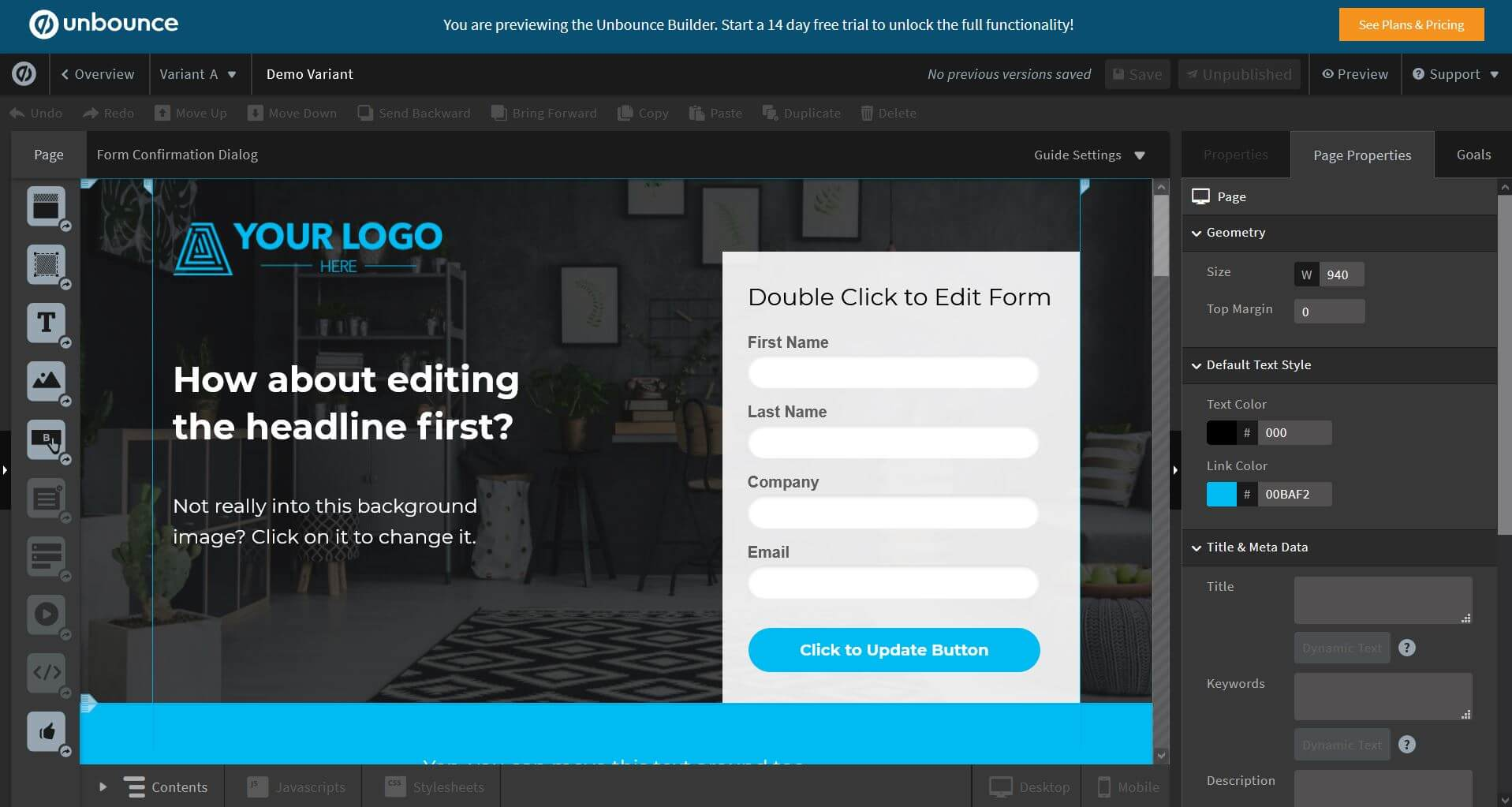 Landing Page - Unbounce